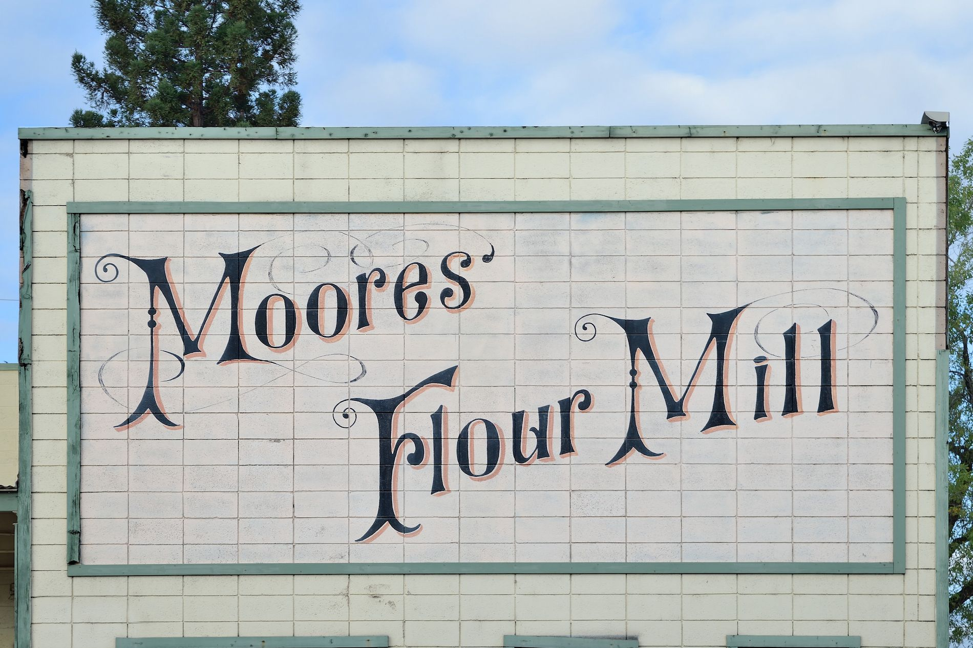 Signage at Moore's Flour Mill on Shasta Street in Redding