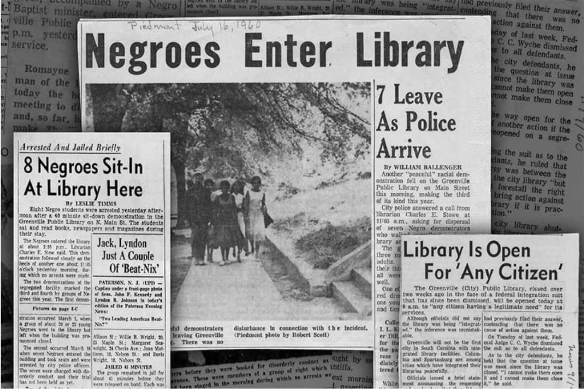 News articles about the Greenville Public Library sit-in