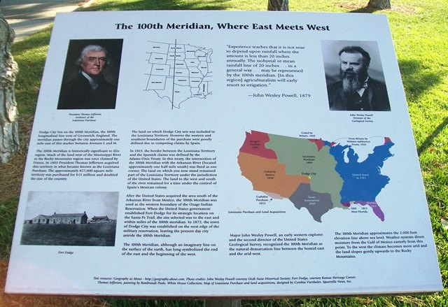 The historical marker provides an overview of the 100th Meridian Line.