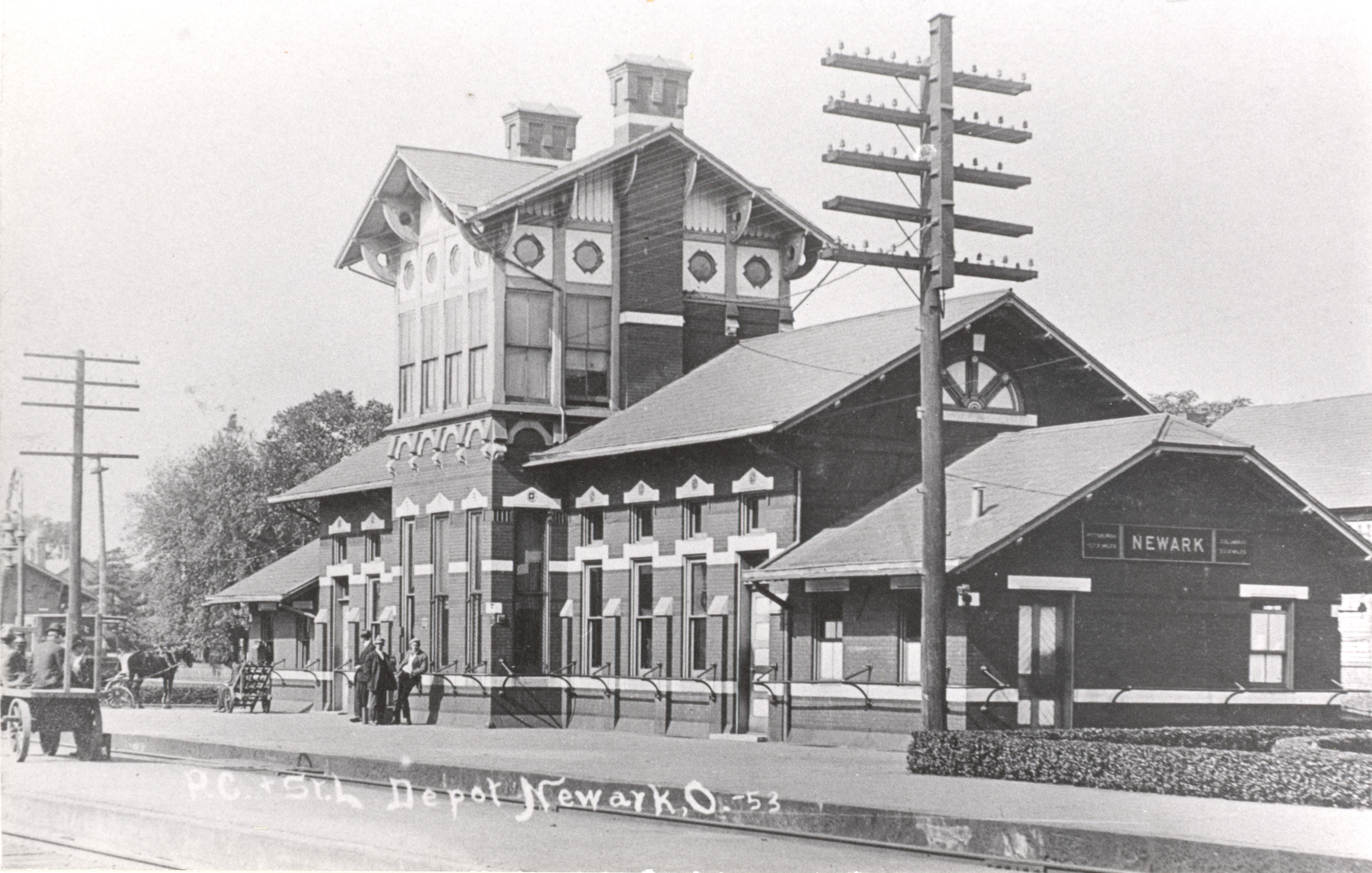 Pennsylvania Railroad passenger station, located on Walnut Street in downtown Newark.