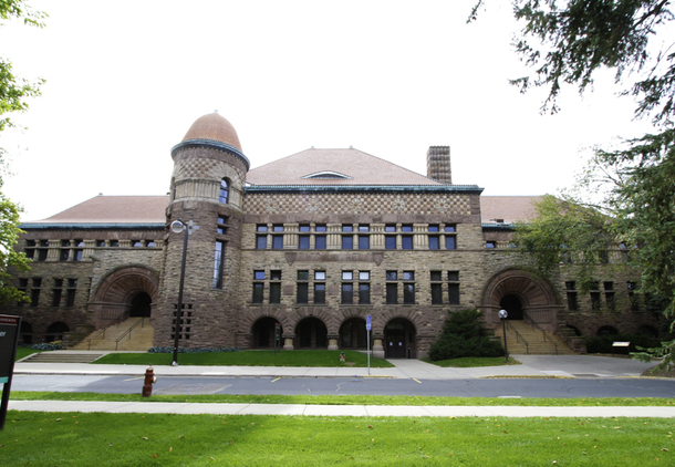 The facade of Pillsbury Hall, with its tower and entrance arches