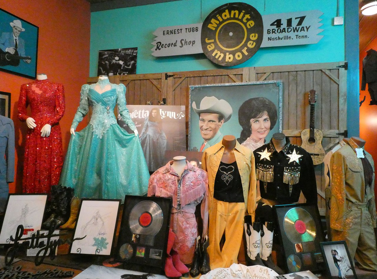 Display at the Ernest Tubb Record Shop Consisting of Loretta Lynn's Gowns and Other Country Western Outfits