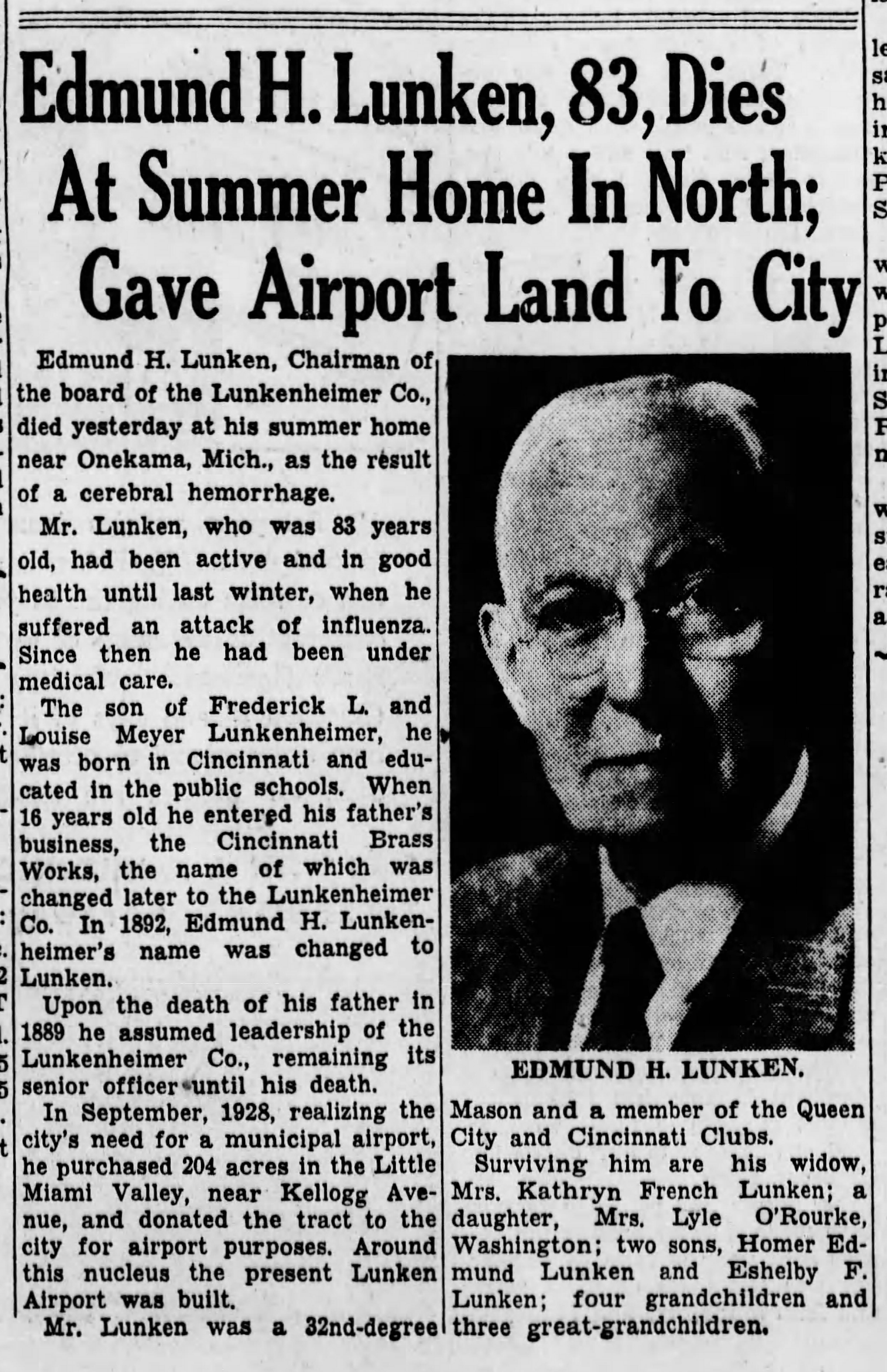 Lunken Airport benefactor dies