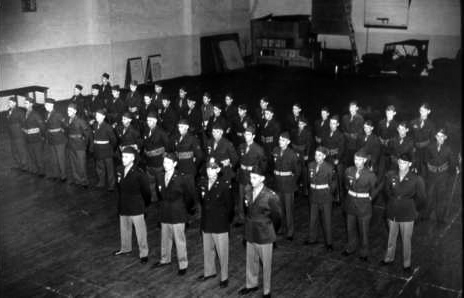 The Wenatchee Home Guard in formation inside the Armory building in 1946