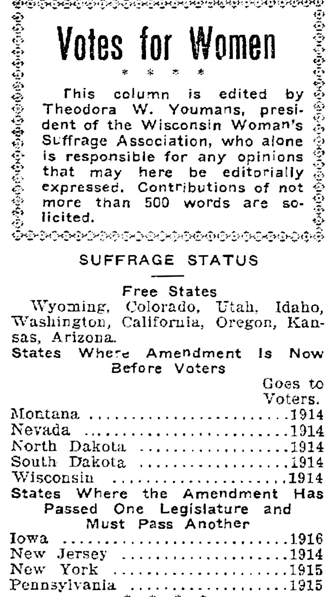 "Theodora Winton Youmans reporting state suffrage statuses in the ""Waukesha Freeman,"" May 15, 1913"
