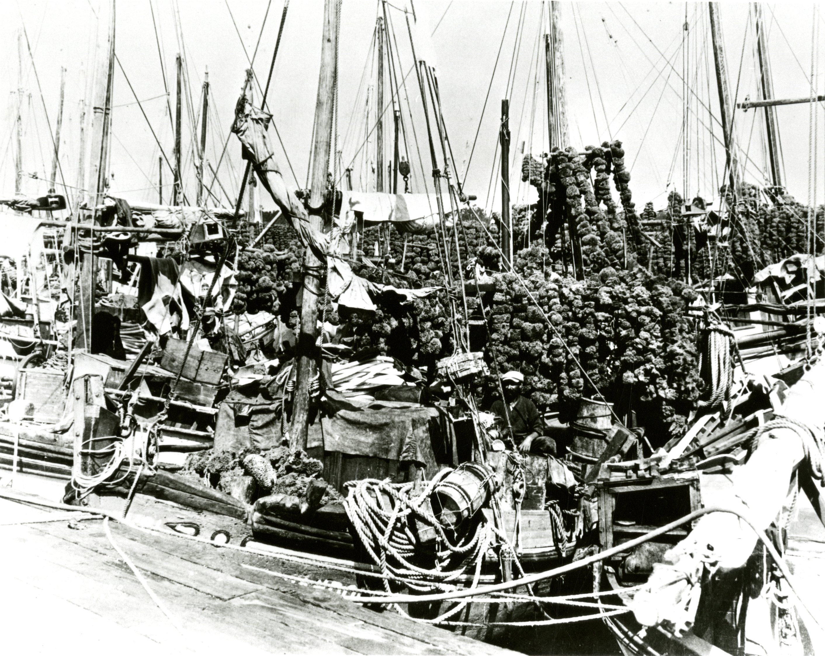 Docked sponge boats at Tarpon Springs, Florida, circa 1920.