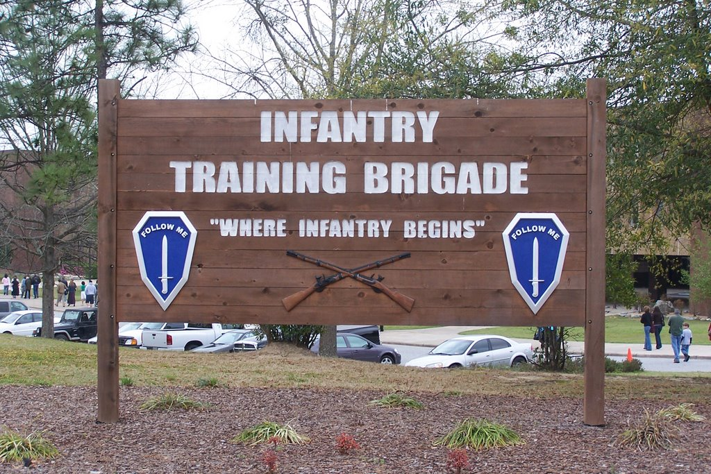 This sign states that this is where training for the infantry starts.