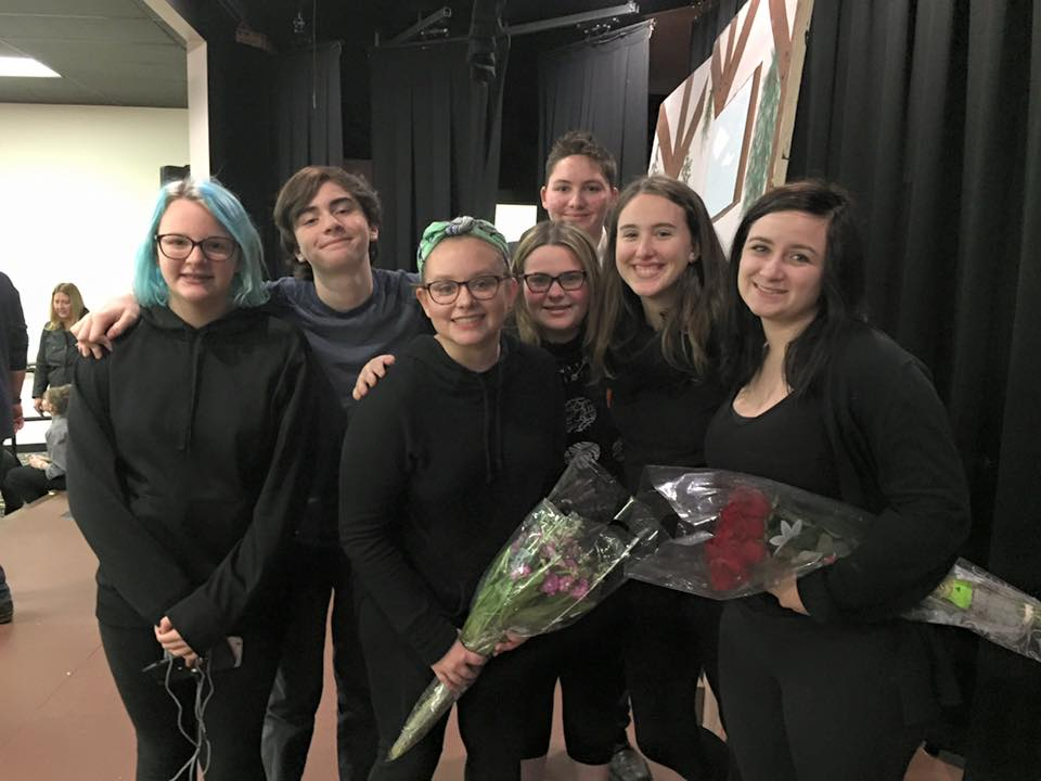 Image of the stage crew for Covered Bridge Children's Theater's performance of Beauty is a Beast (2016), the directorial debut of Lizzie O'Hearn. Almost the entire stage crew and directorial staff ranges from the ages of 13 to 17 (in addition to an adult supervisor).