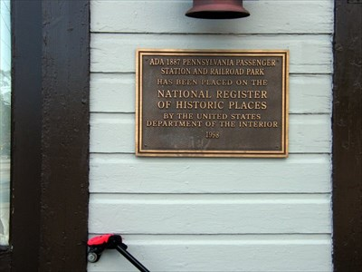 Plaque found at Ada Pennsylvania Station and Railroad Park