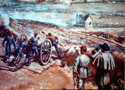 A painting of Confederate artillery and infantry defending Marye's Heights and the sunken road