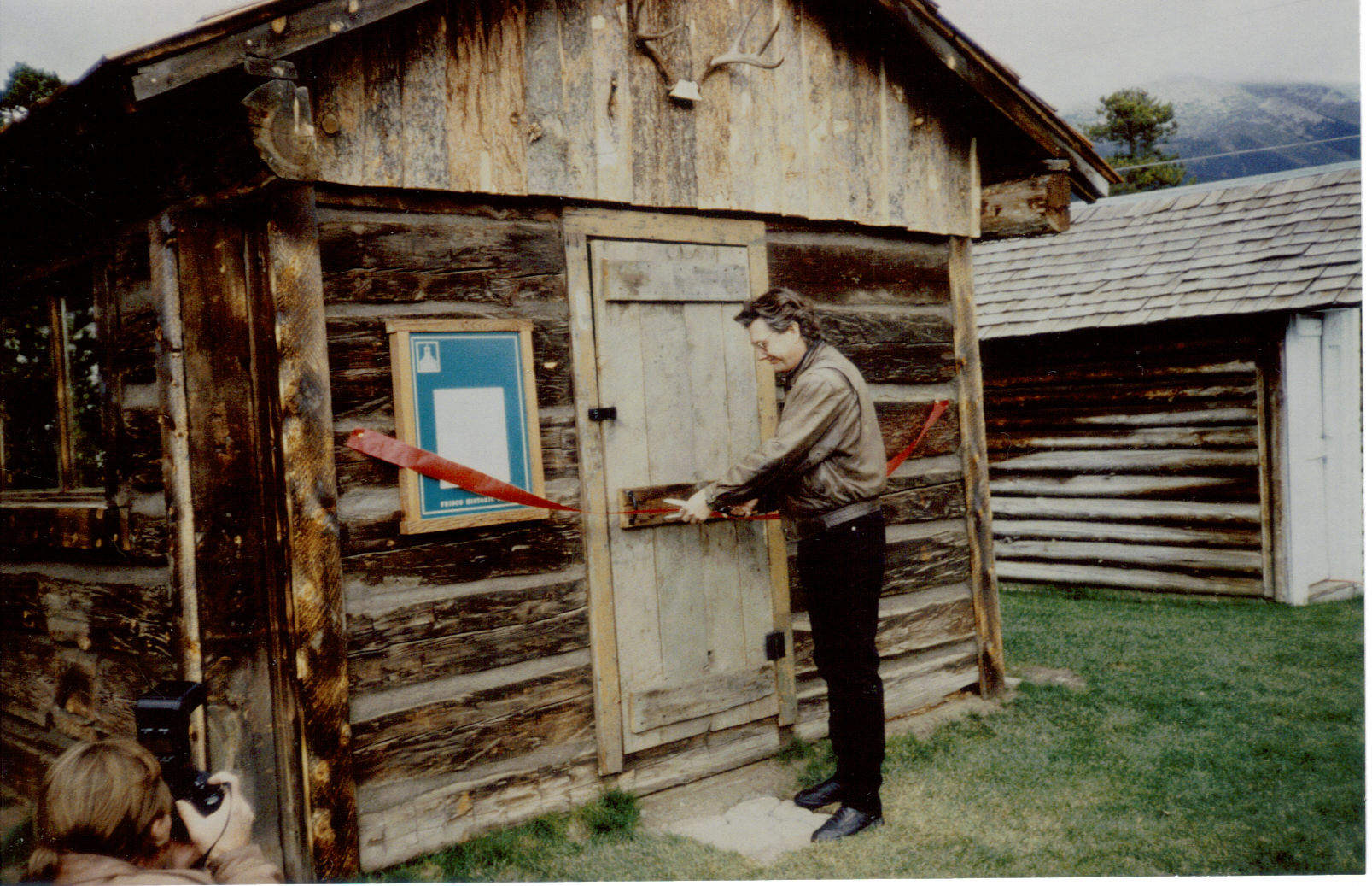 The ribbon-cutting ceremony for the Trapper's Cabin at the Frisco Historic Park & Museum in 1993.