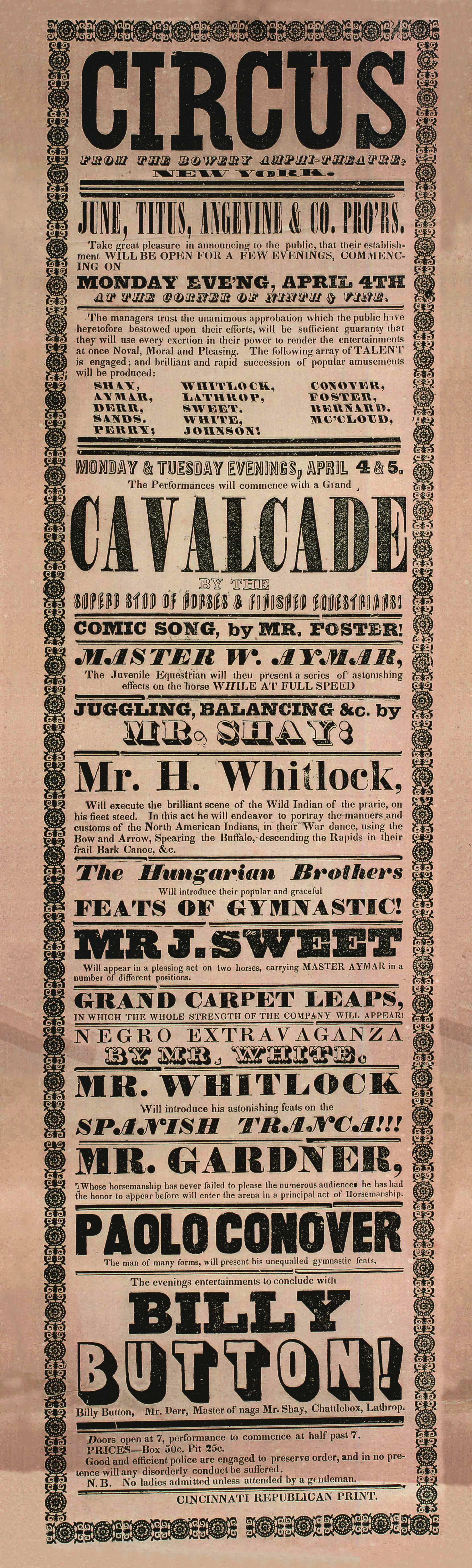 Broadside for June, Titus & Angevine & Co. Circus, 1840