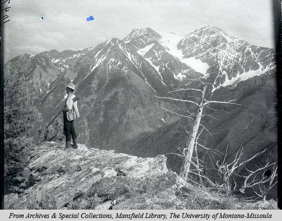 Morton John Elrod in the Mission Mountains, 1905, during one of his expeditions