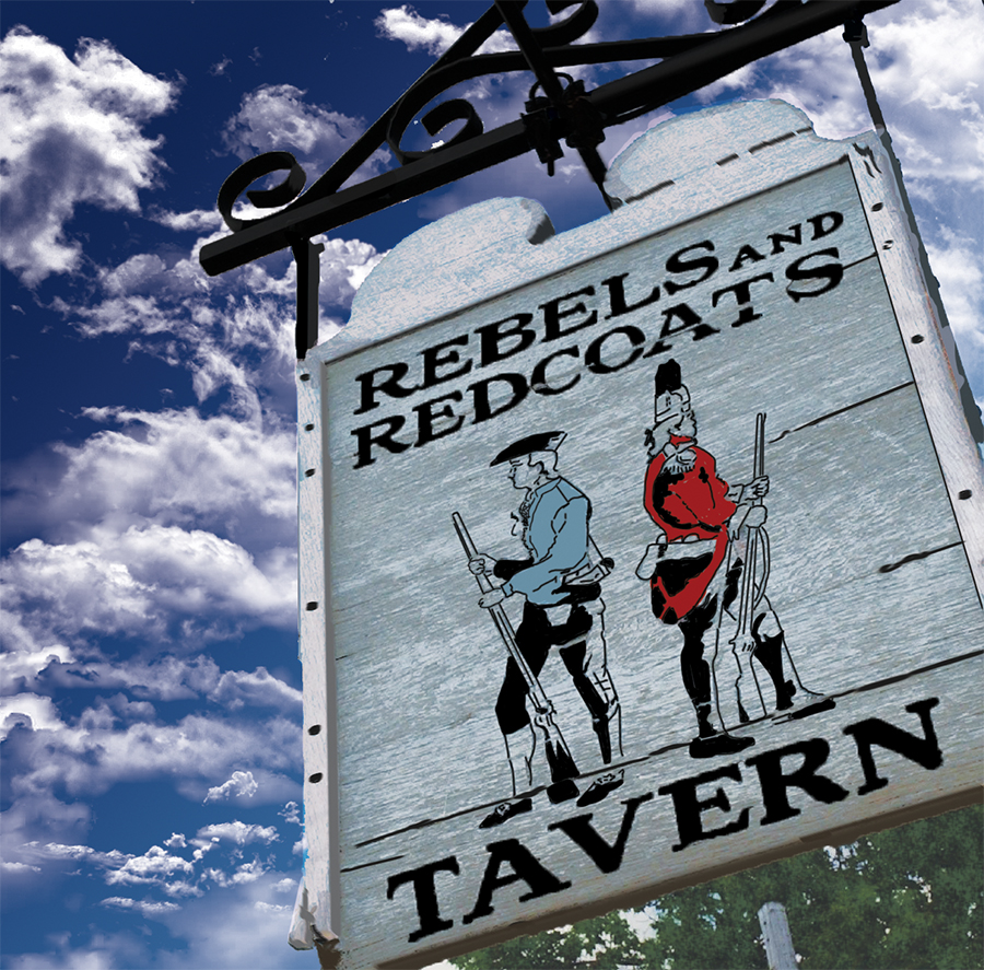 Illustration of the Rebels and Redcoats sign