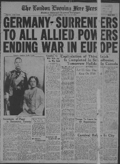 The Issue of the London Free Press declaring Victory in Europe, May 7, 1945.