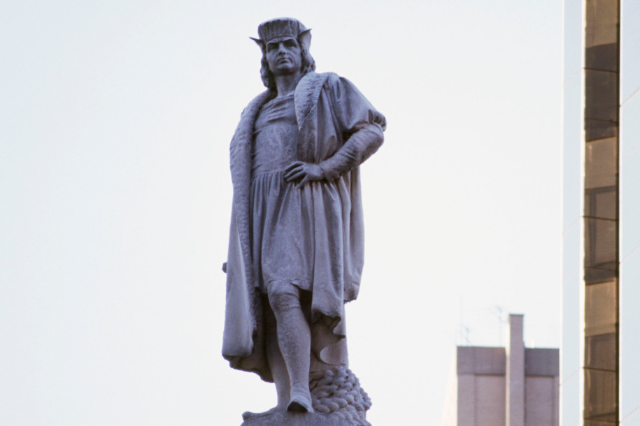 View of Columbus atop his 70-foot granite pedestal
