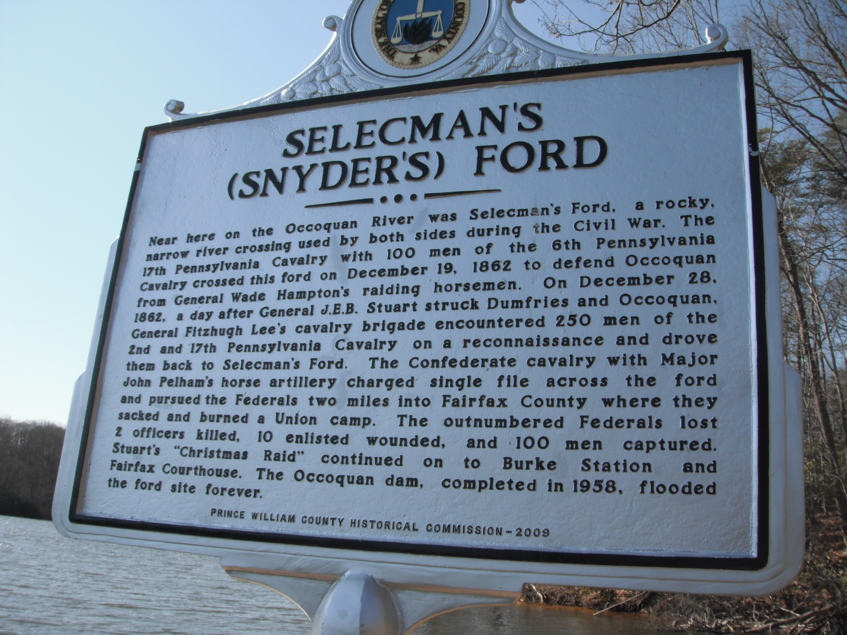 The Fairfax County-side Selecman's Ford marker (the marker on the Prince William County side is the same)
