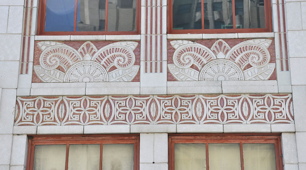 Example of the geometric and vegetative Art Deco style on the Peggy Ann Building