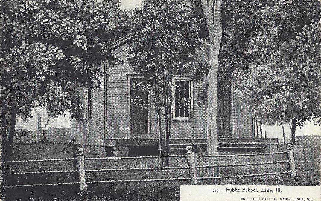 Postcard showing Lisle Public School c. 1900 (From the museum and Lisle Heritage Society collections held at MLSP)