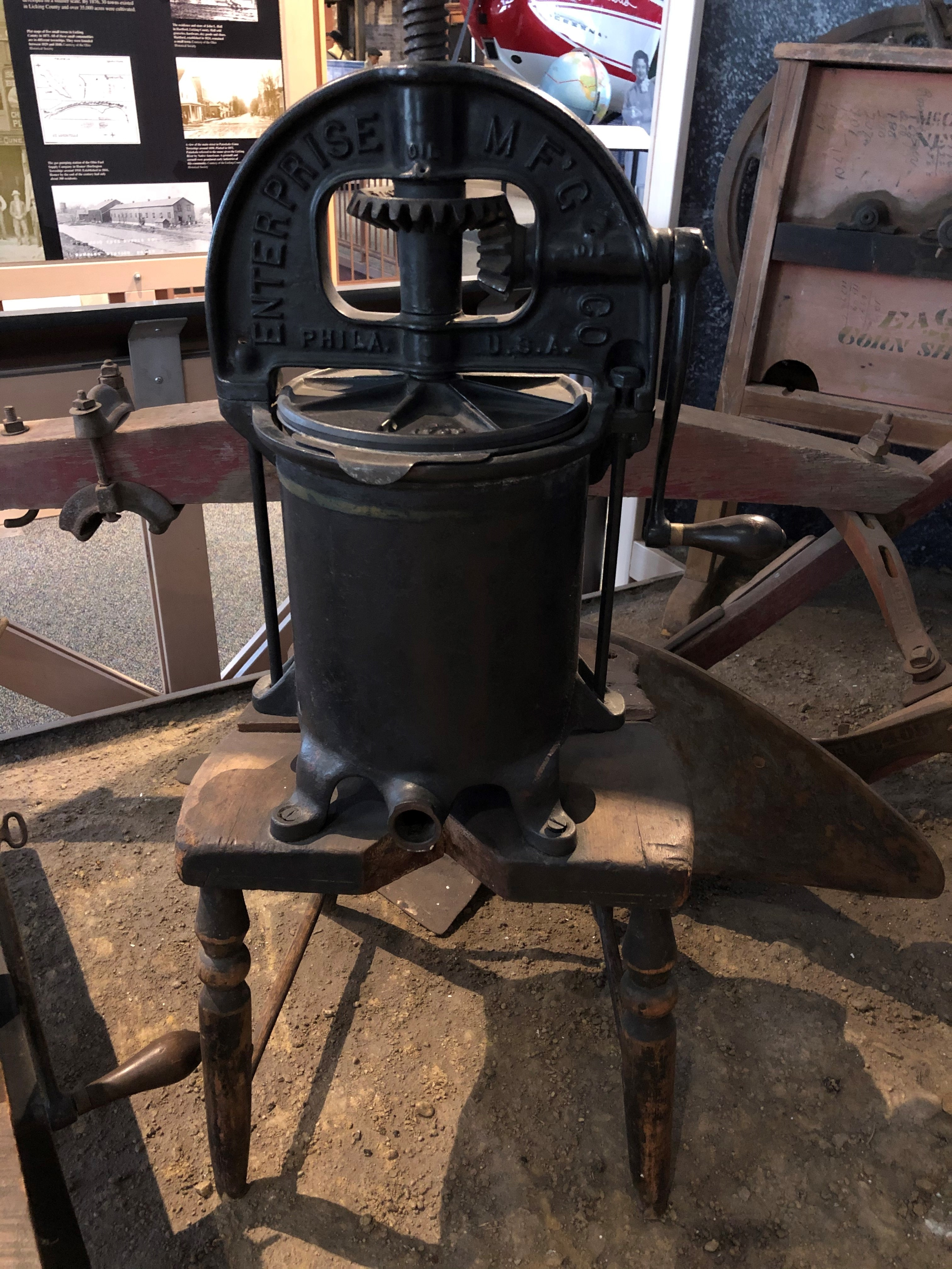 The lard press was attached to the seat of a chair to give it a permanent base.