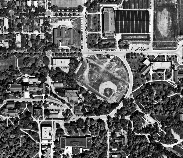 Aerial photograph of Jordan Field circa 1940
