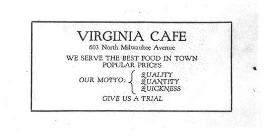 Virginia Cafe advertisement, 1926