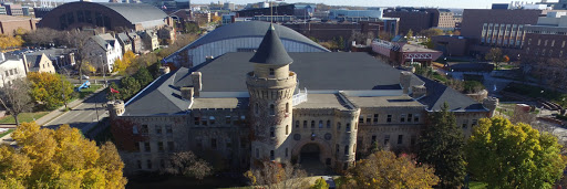 An aerial view of the Armory and its surroundings