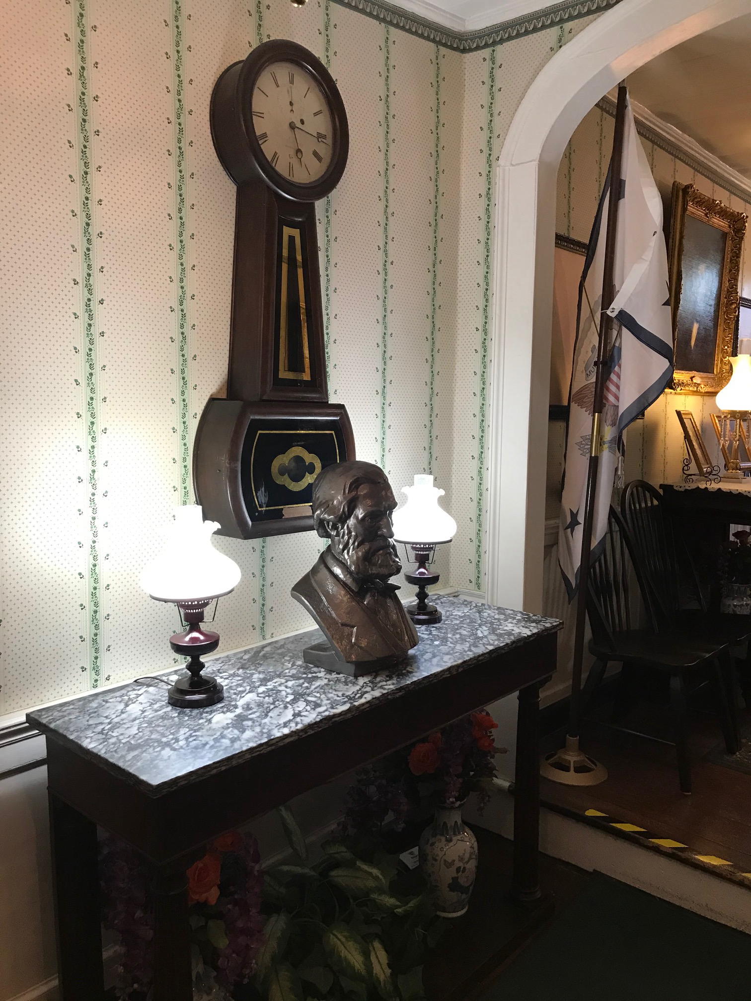 Banjo Clock and a Bust of Thomas Green Clemson