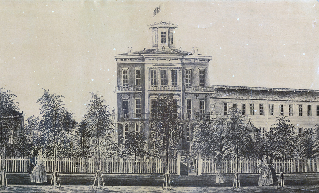Drawing of Harvey Hospital, Madison, Wisconsin, sent to Mrs. Cordelia Harvey, the first superintendent of the hospital, and of the orphanage that was later established there. In the drawing, the Home is featured with soldiers seated and standing on the porch while civilians walk past.