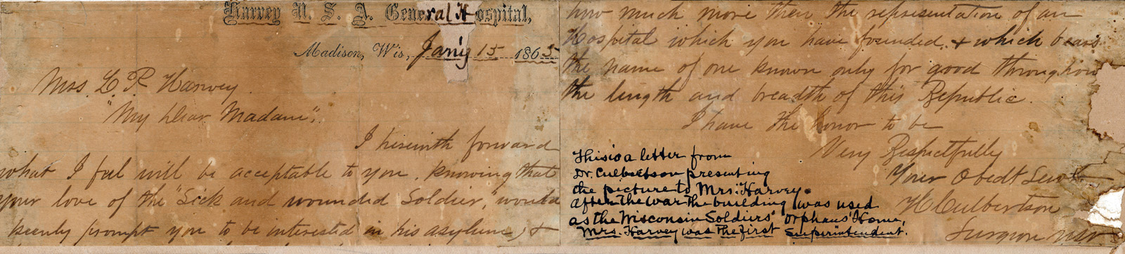 Note from Dr. Culbertson, presenting the drawing to Cordelia Harvey, the first superintendent of the Wisconsin Soldiers' Orphan's Home in Madison, given in thanks for her work for soldiers and their orphans. Also indicated is the donation of the drawing to the GAR by Mrs. Harvey's niece.
