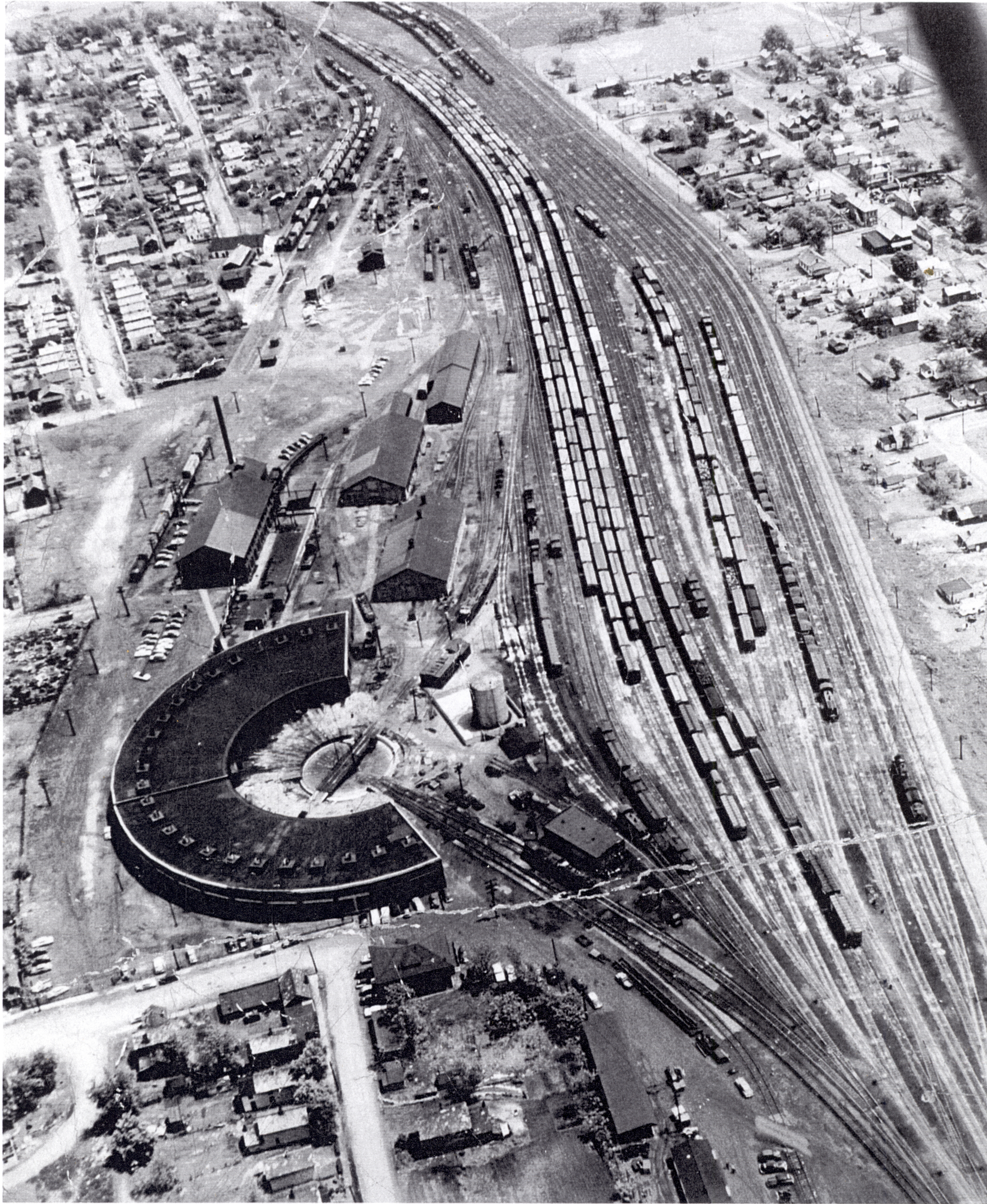 An aerial view of the B&O roundhouse and rail yard.