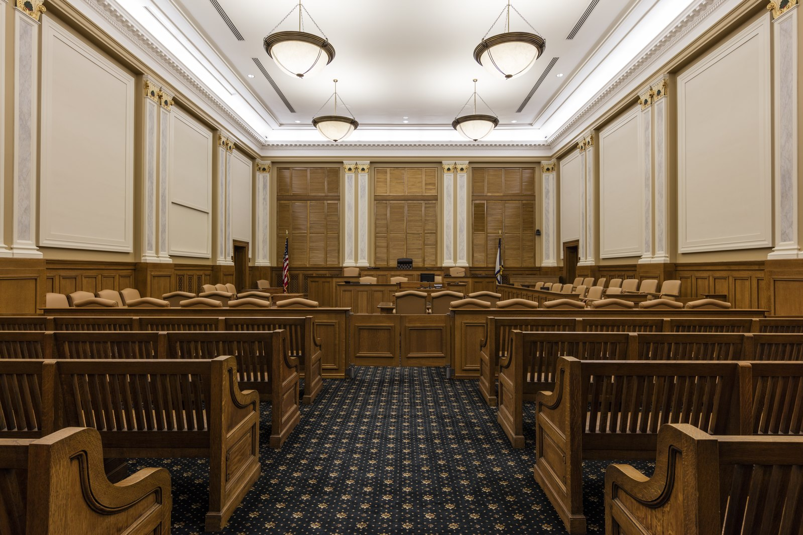 One of the building's courtrooms