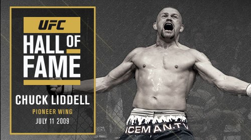 "This image is Chuck Liddell's picture for the UFC Hall of Fame. This image of him celebrating after a devastating knockout is a legendary moment for the UFC. Chuck Liddell is one of the men that helped shape the UFC into what it is today. In the early 2000's Chuck Liddell was easily the highest profile MMA fighter on the planet. He was also the UFC Light Heavy Weight Champion for quite some time. His mohawk, head tattoo and overall fighting mentality perfectly described the era that was the UFC was in during is hay day. His vintage blue, ""ICE Man"" shorts are also present in the picture. IT is important to remember that Chuck Liddell is an early pioneer in the sport of MMA. Chuck Liddell represented the era well and he is one of the fighters of the era who deserved a spot in the Hall of Fame without a doubt. His vicious knockout power and drive to win is something MMA fans will always remember."