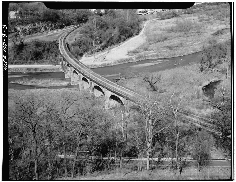 This aerial image reveals the four-degree curve on which the viaduct was built over the Patapsco River Valley.