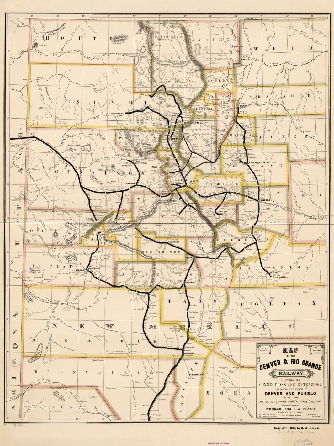 This map of the Denver & Rio Grande Railway was created in 1881. In addition to rail lines, it shows the mining regions, towns, and military forts, including Fort Garland (to the right of Alamosa).