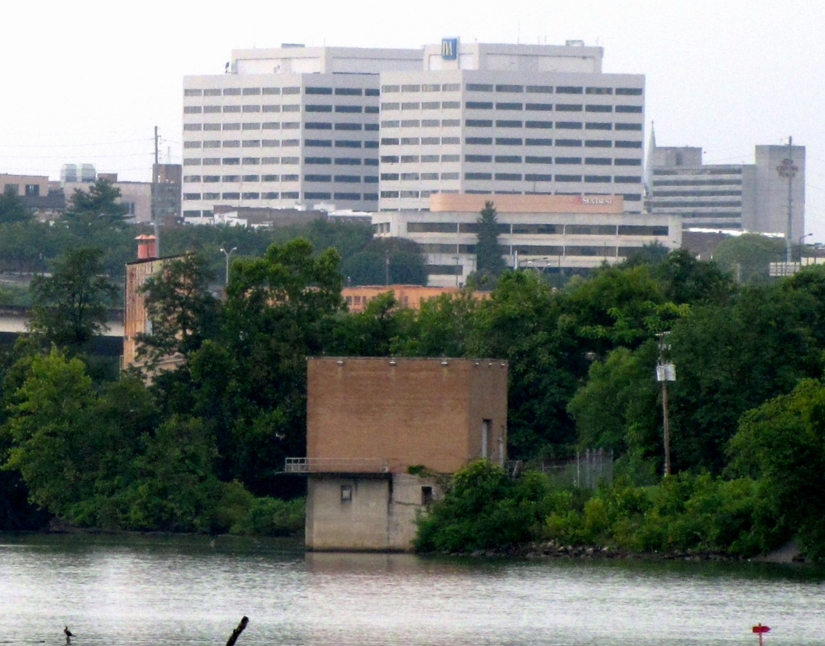 The TVA Towers, viewed from the Island Home Airport in Knoxville, TN, USA. The Tennessee River is in the foreground.