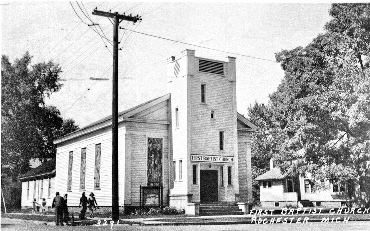 First Baptist Church of Rochester, south and east elevations, ca. 1940
