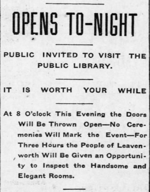 Headline for article on the opening of library in the local newspaper on May 1st, 1902