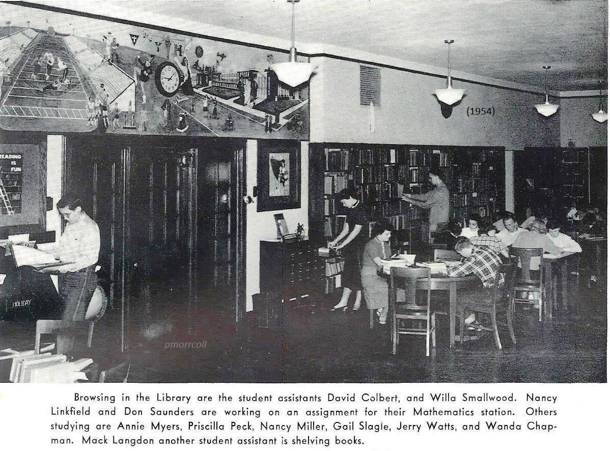 Inside the HEHS library, 1954