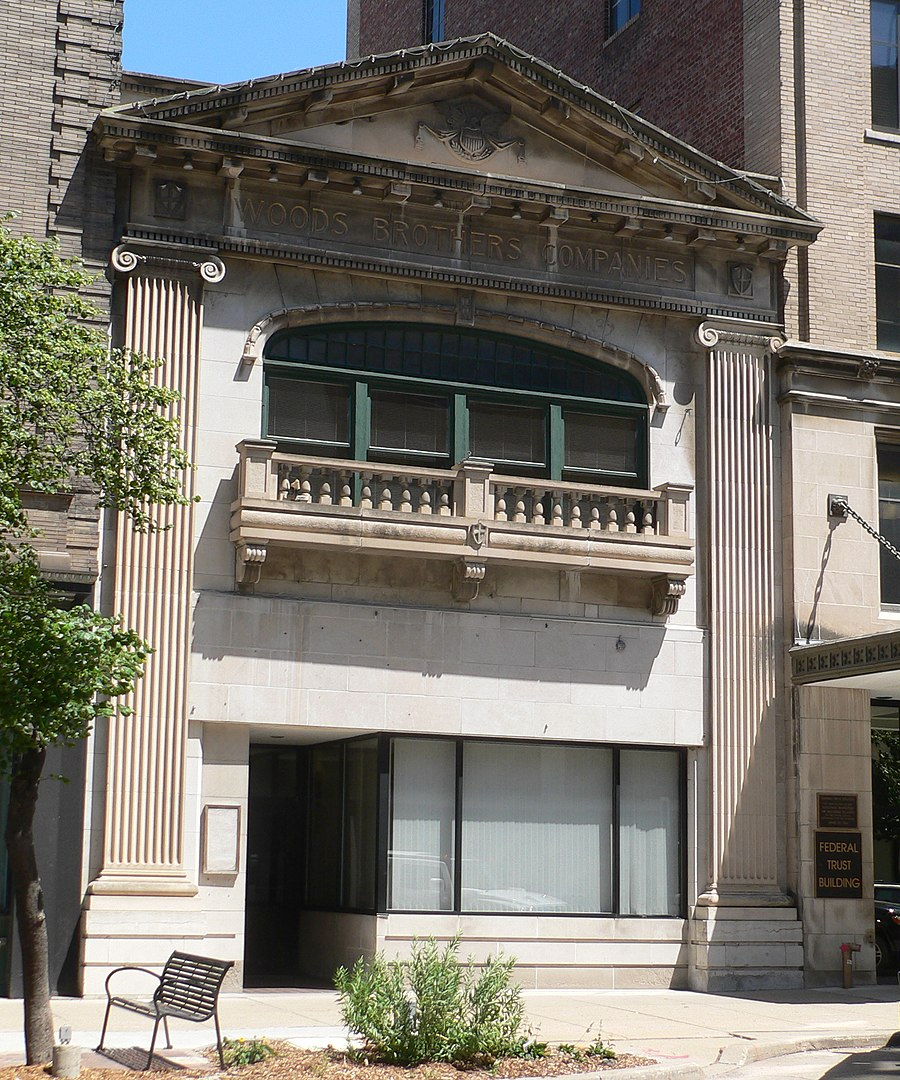 2012 photo of Woods Brothers Building, view from the northwest, by Ammodramus