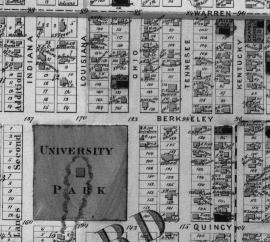 Duncan house neighborhood on 1873 Beers Atlas map of Douglas County, p. 33