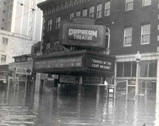The theater entrance during the flood of 1937