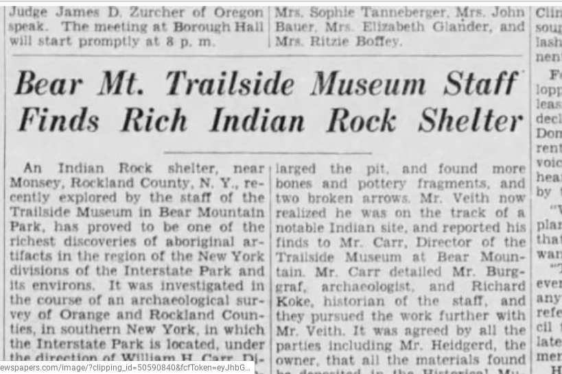 Newspaper clipping from 1936 about excavation.