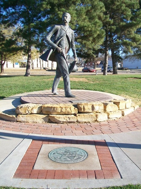 The statue is located at the corner of Central Avenue and Wyatt Earp Blvd.