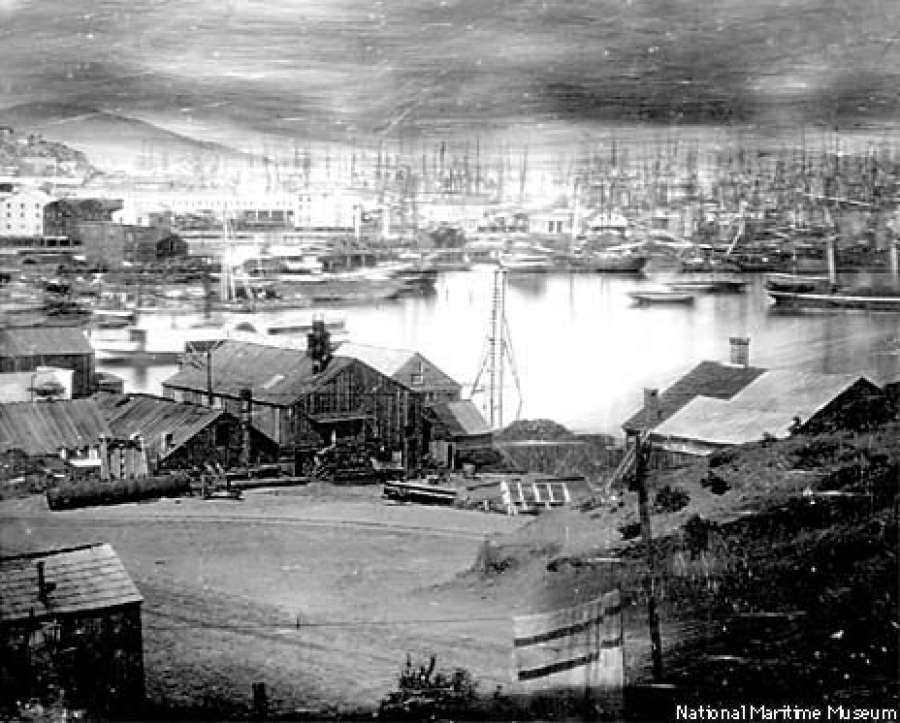 The waterfront area of Yerba Buena cove (San Francisco), as seen in 1851