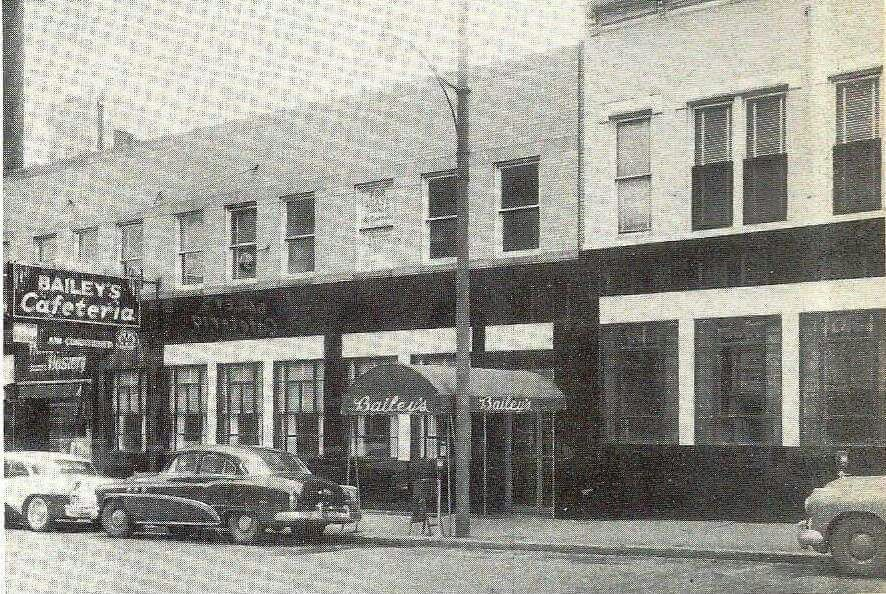 A head-on view of Bailey's Cafeteria, located on the east side 400 Block of 9th Street