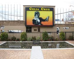 This is one of the images of the Celia Cruz Park from the inside. It is seen that there is a memorial built in honor of Celia Cruz.