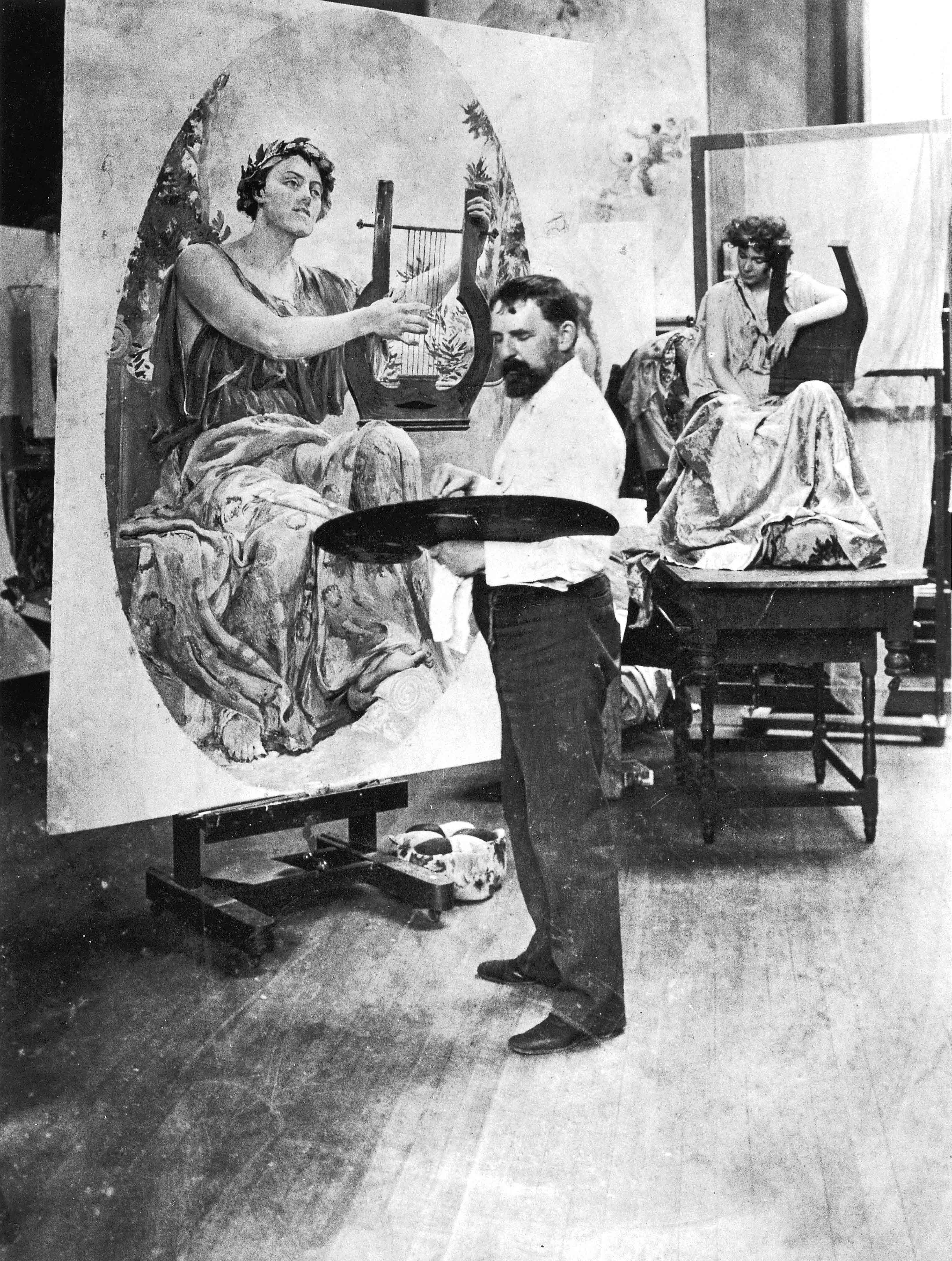 Will Low working on a Canvas in his art studio
