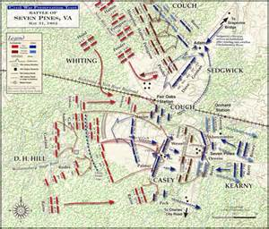 Map depicting battle plans for the Battle of Seven Pines