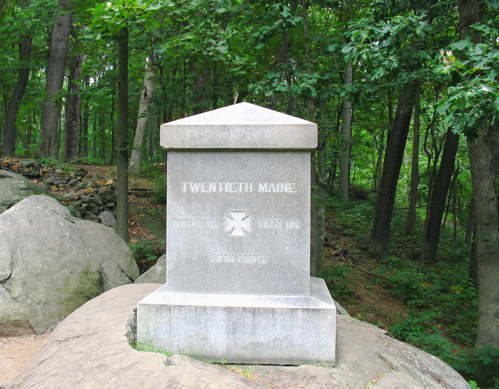 The monument erected for the 20th Maine Volunteer Infantry Regiment